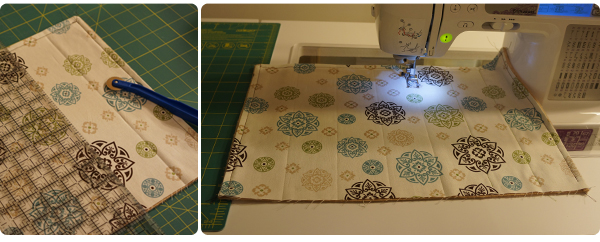 Sew 2-inch columns for the rice/lavender filling