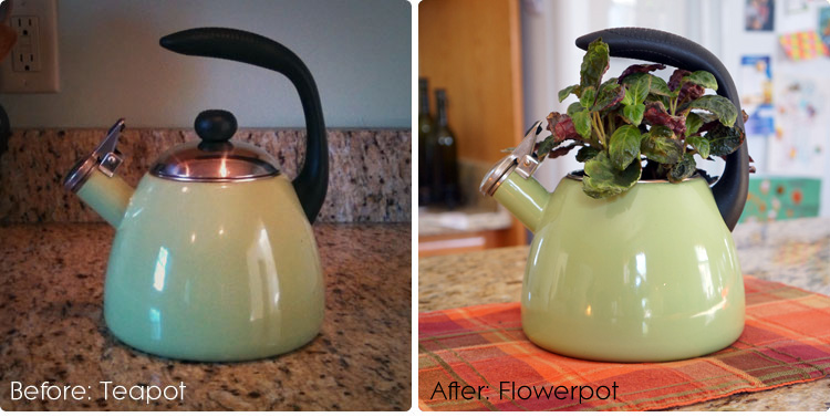 Re-purpose an old teapot into a flowerpot.