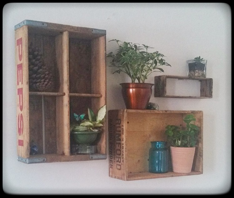 Hang antique crates as shelves