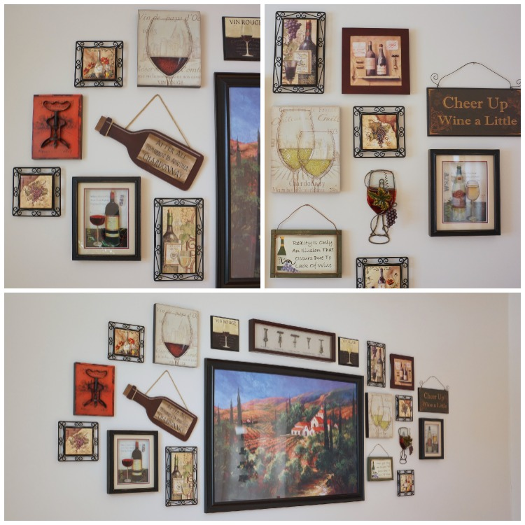 Wine-themed gallery wall - details