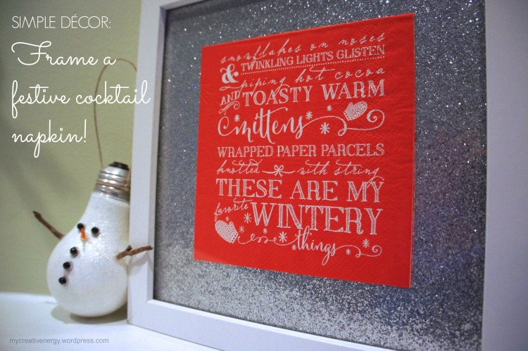 Simple decor: frame a festive cocktail napkin!