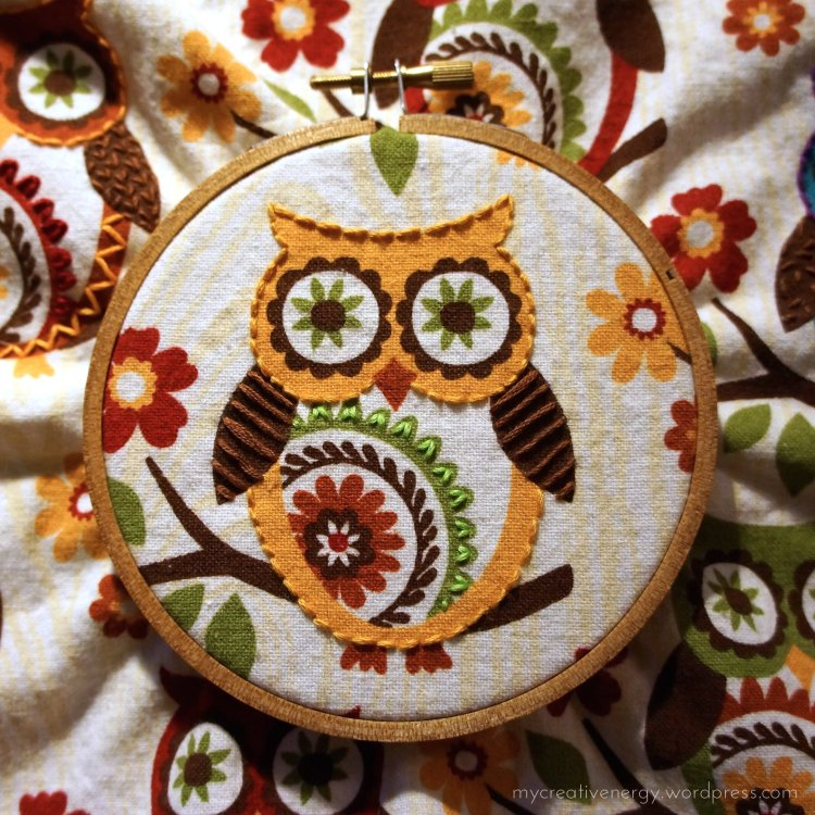 Colorful, embroidered owl